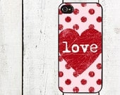 iphone 6 case Polka Dot Heart iPhone Case - Valentine Cell Phone Case - iPhone 5 Case - iPhone 4,4s - Valentine's Day - Pink Heart