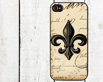 Vintage Brown Fleur de Lis Phone Case for  iPhone 4 4s 5 5s 5c SE 6 6s 7  6 6s 7 Plus Galaxy s4 s5 s6 s7 Edge