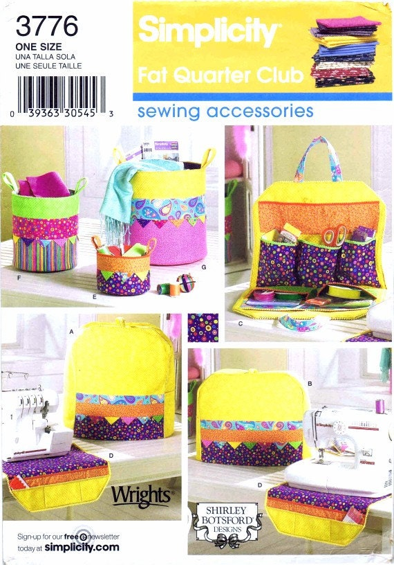 Serger Sewing Machine Containers Covers Organizers Fat Quarter Club Sewing Accessories Simplicity 3776 Crafts Sewing Pattern UNCUT