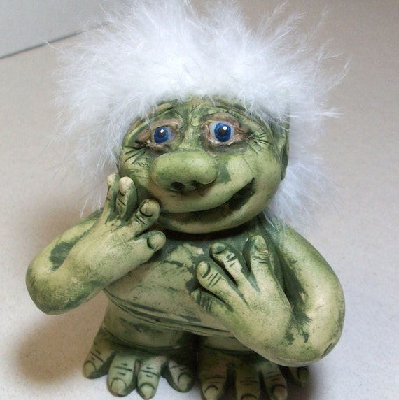 My Green Troll is shy. Polymer clay figurine.