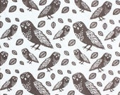 Fabric by the Half Yard -  Espresso Owls - foxyandwinston