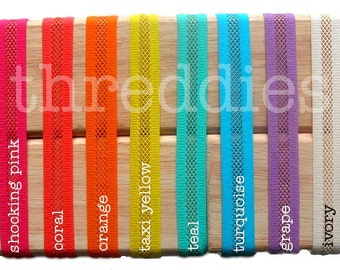 8 stretchy elastic headbands OR oversized ponytail elastics // pick your colors // no metal -- netting inset
