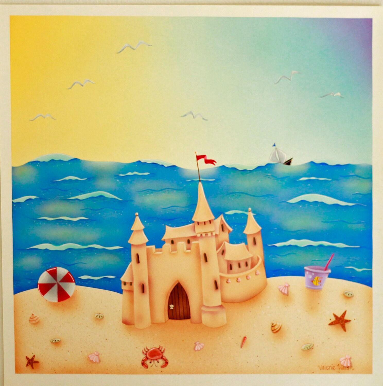 Beach house framed art print sand castle acrylic for Beach house prints