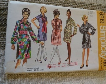 Vintage 70s Simplicity 9219 Vintage Dress in Two Lengths with Sash Pattern sz 14 B 36 UNCUT