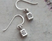Sterling Silver Flower Box Solid Cube Dangle Drop Earrings