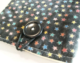Tablet Reader Sleeve, Case Cover, Kindle Kobo, Black, stars, tablet fabric sleeve, ready-to-ship
