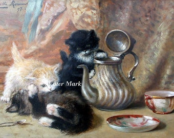 Cat Cats Kitten KIttens with teapot. Digital Download,tags, frame,greeting cards, sales tags,sewing