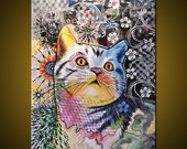 Original Abstract Painting Modern Animals Cats Cat art ...18 x 24 ... Chloe, by Amy Giacomelli