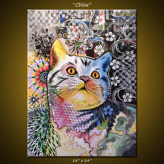 Original abstract painting modern animals cats cat art 18 x for Abstract animal paintings