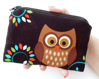 Zipper Coin Purse Happy Owl Zipper Pouch Little Coin purse ECO Friendly Padded NEW