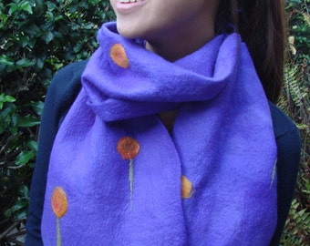 Scarf Felted Purple with orange flowers