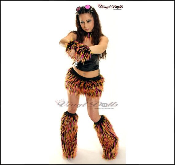 Items similar to Rave Furry Outfit - UV Pink Yellow Black - Furry Skirt Cuffs Fluffies ...