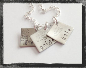 Personalized Jewelry - Hand Stamped Charm Necklace - HIP To BE SQUARE - 3 Disc Charm Necklace