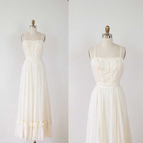 Cream bohemian wedding dress lace cotton voile m