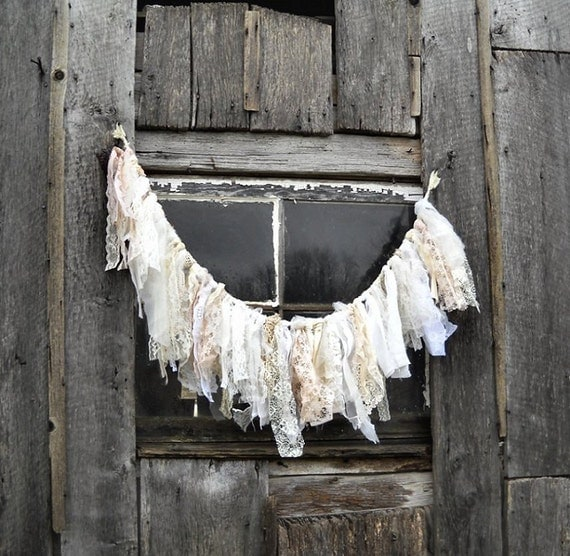 Wedding Garland - Shabby Chic Tattered Fabric - Lace Banner - French Cottage - White Beige