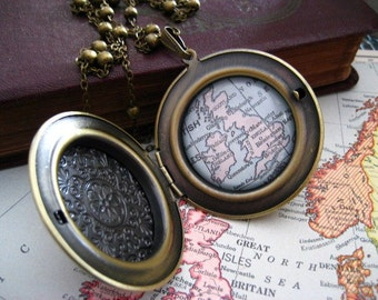 Map Locket  Necklace UK, Ireland and Scotland