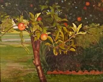 Oil Painting Apple Tree Branch Garden