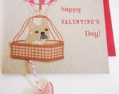 Nuri the French Bulldog Hot Air Balloon Happy Valentine's Day Felt Heart Note Card with Envelope