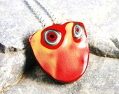 Detroit Fordite Necklace - Recycled Vintage Auto Paint - Red Orange Yellow Sunset Shield Medallion on Sterling Silver with Hidden Bail - walkonthemoon