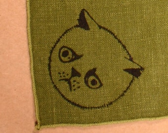 Dark avocado linen placematt and napkin set four each handprinted allergic cat, persian