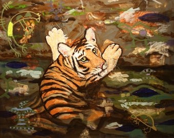 Tiger in the water original painting endangered blue fur worry