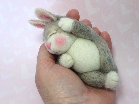 Naked BUNNY Class Needle Felted in PDF files By Barby Anderson (Kits available and sold separately)