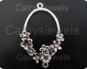 Antique Silver Filigree Spring Flower Connectors 10 Pieces