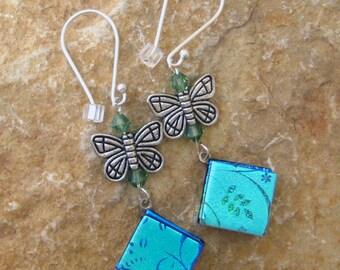 Blue Glass Earrings, Butterfly Earrings, Summer Jewelry, Dichroic Fused Glass Drop Earrings, Fused Glass Earrings - Blue Butterfly Earrings
