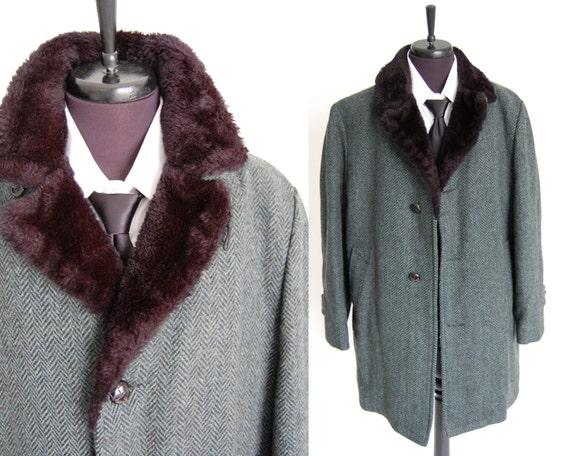 vintage mens wool coat / herringbone tweed black teal blue green flecks / black faux fur collar and lining 40 R / warm winter coat as found