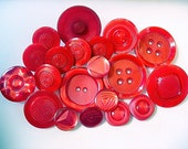 50% Off Sale--Lovely Lot of Various Red Vintage Plastic Buttons