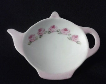 China Painted Porcelain Pink Roses Tea Caddy/Tea Bag Holder