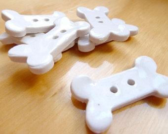 Porcelain Bone Shaped Buttons -- Set of Six