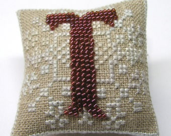 Completed Cross Stitch Beaded Initial T Ornament