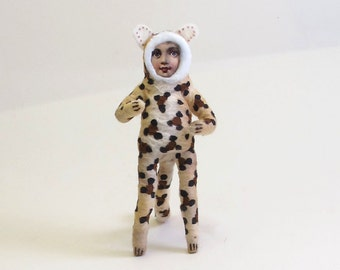Spun Cotton Vintage Style Leopard Boy Figure/Ornament