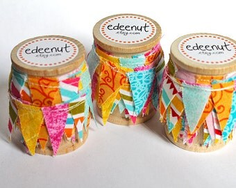 Sherbet Mix fabric Cake Mini Bunting. Wooden Spool of Ribbon for gift wrapping. Most popular seller.