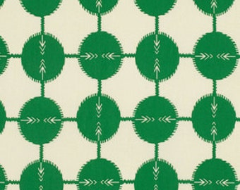 RARE Anna Maria Horner Field Study Collection Coordonites Dots Cotton Fabric by the half yard Kelly Green White