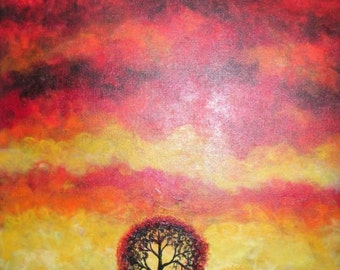 Tree Art, Sunset, Tree painting, Original fine art,  Acrylic painting by  Jordanka Yaretz