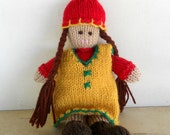 SALE: Natural Doll,  Gnome Girl, Eco Friendly - Hand Knit by Woolies