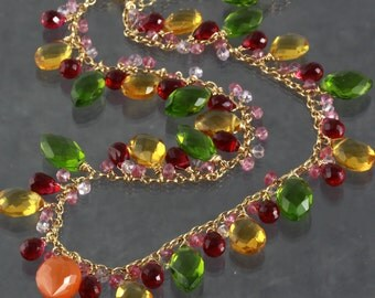 Carnelian Green Yellow Red Quartz Charm Statement Necklace & Earrings Set