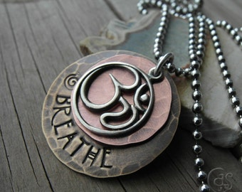 Ohm Necklace Breathe Om Charm Mixed Metal Jewelry