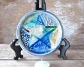 Small Pentacle Plate, Pentagram Paten, Glass and Glaze Ritual Tile, Small Handmade Altar Tool, Pagan Decor, Ready to Ship Decoration