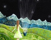 Gathering Stars, whimsical little girl, nursery shower gift, mountains green grass, spring summer, archival reproduction print 8.5 x 11
