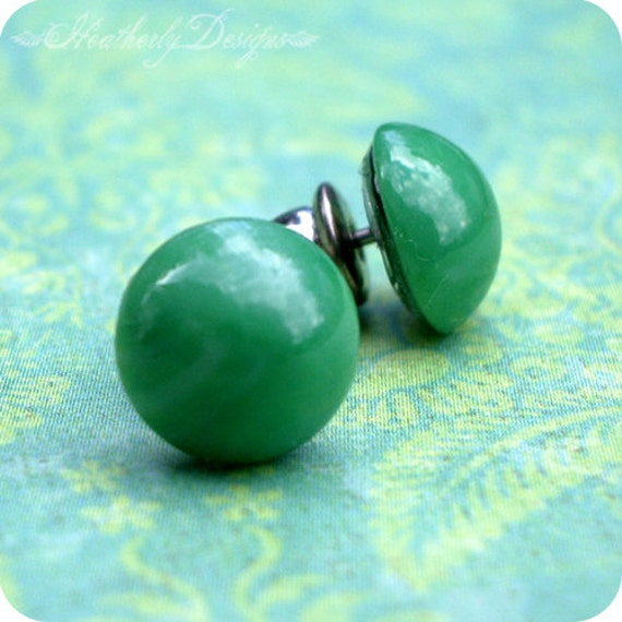 Jade Droplets: swarovski glass faux jade tiny sterling silver or surgical steel post earrings