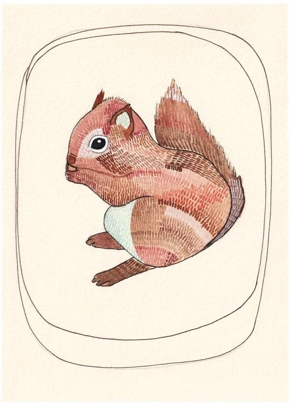 Art - Art Print - Squirrel Art Print - Animal Art - Baby Squirrel - Nursery Art - Squirrel Artwork - Art for Kids Room - Little Squirrel