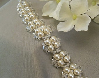 Bridal Cuff Bracelet, Cream Swarovski Pearls and Clear Crystal -  Cream or White Pearls Available