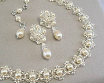 Wedding Necklace and Earring Set, Backdrop Necklace, Wedding Jewelry,Choice of White or Cream Pearls Available