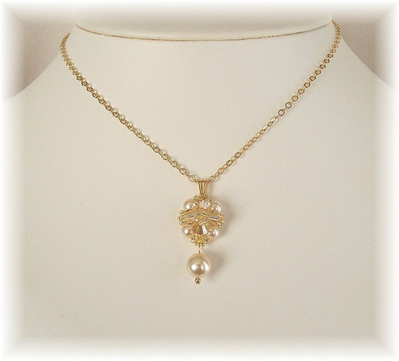 Classic Champagne Bridal Pendant, Golden Shadow Pendant, Crystal and Pearl Pendant, Bridesmaid Jewelry