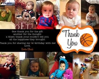 Basketball Printable Photo Thank You Card - 5x7, up to 10 photos