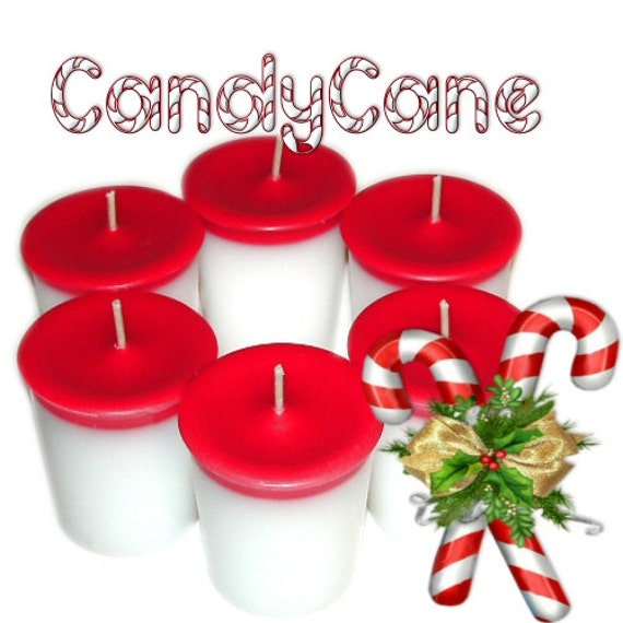 6 Candy Cane Votive Candles Christmas Candy Peppermint Scent