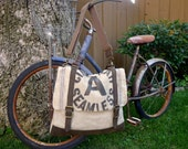 Cincinnati A Seamless - Vintage Seed Sack Double Tote Bag - Americana OOAK Canvas & Leather Tote... Selina Vaughan